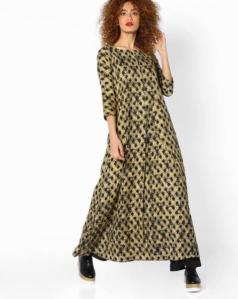 Geometric Print Maxi Dress By SUGANDH ( Yellow )