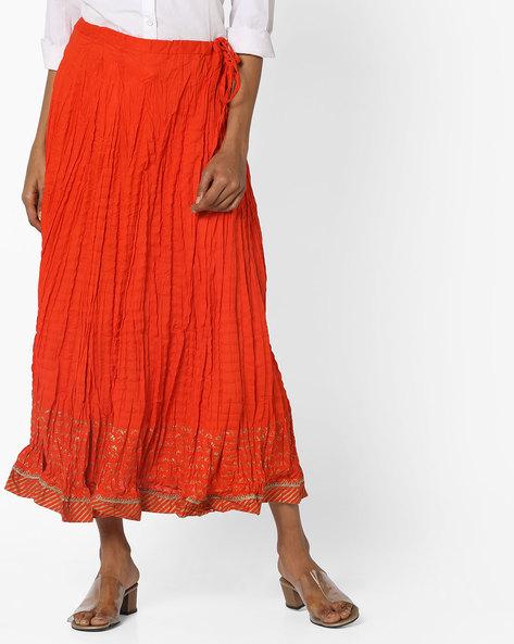 Printed Cotton A-line Skirt By Biba ( Orange )