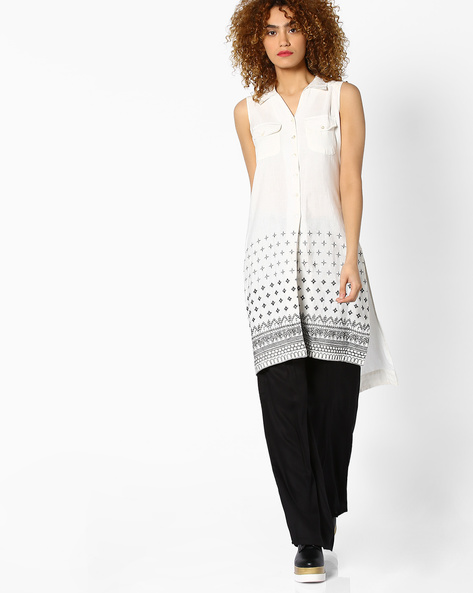 Printed Tunic With Flap Pockets By Global Desi ( White )