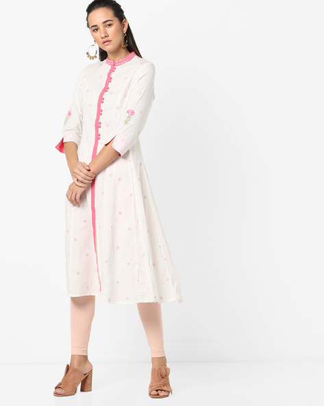 Polka-Dot Flared Kurta By AJIO ( Offwhite )