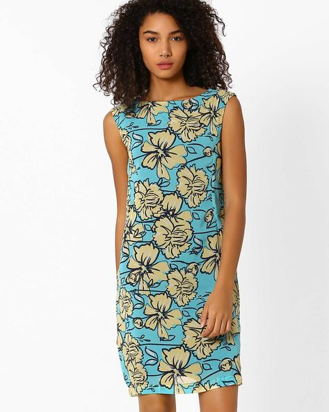 Floral Print Shift Dress By Vero Moda ( Blue )