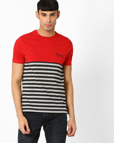 Colourblock Crew-Neck T-shirt By AJIO ( Red )