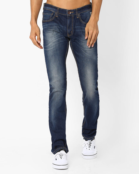 Low-Rise Slim Jeans By Pepe Jeans ( Blue )