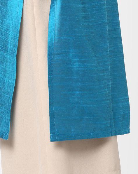 Straight Kurta With Mandarin Collar By Shree ( Turquoise )