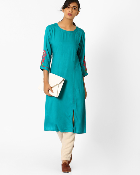 Straight Kurta With Embroidered Sleeves By AJIO ( Turquoise )