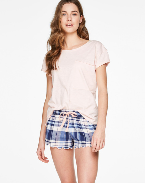 Checked Shorts With Scalloped Hems By Hunkemoller ( Blu )