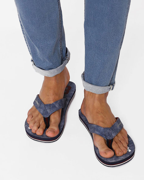 Printed Flip-Flops With Anti-Skid Outsole By Sole Threads ( Navy )