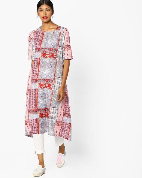 Printed High-Low Kurta By Melange By Lifestyle ( Red )