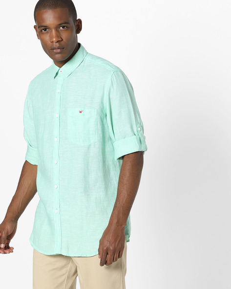 Slim Fit Shirt With Patch Pocket By Wills Lifestyle ( Mint )