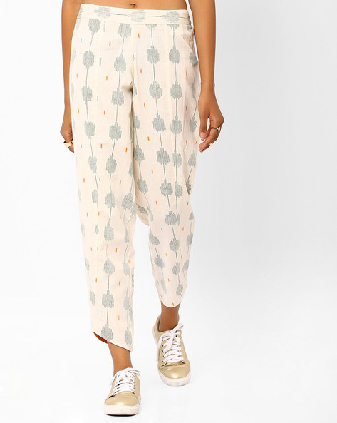 Printed Panelled Pants By AJIO ( Offwhite )