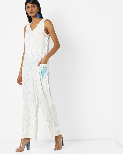 All-Over Print Jumpsuit By AJIO ( Blue )