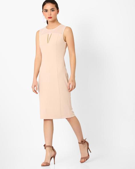Panelled Sheath Dress By AJIO ( Nude )