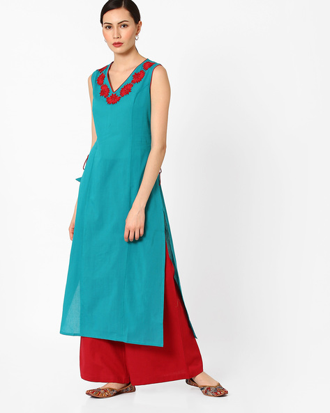 Embroidered Kurta With Mock Tie-Ups By AJIO ( Turquoise )