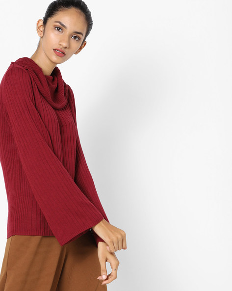 Cowl-Neck Sweater With Bell Sleeves By FIG ( Maroonburg )