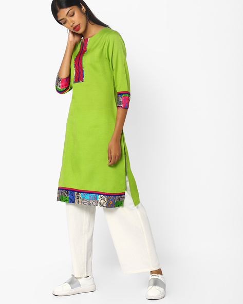 Straight Kurta With Printed Panels By SOCH ( Green )