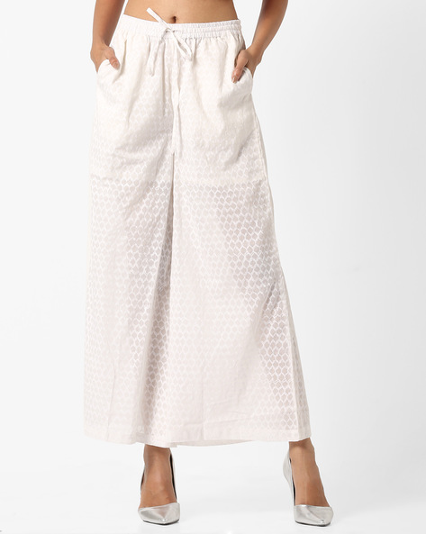 Printed Palazzos With Elasticated Waist By Project Eve IW Casual ( Offwhite ) - 440756020005