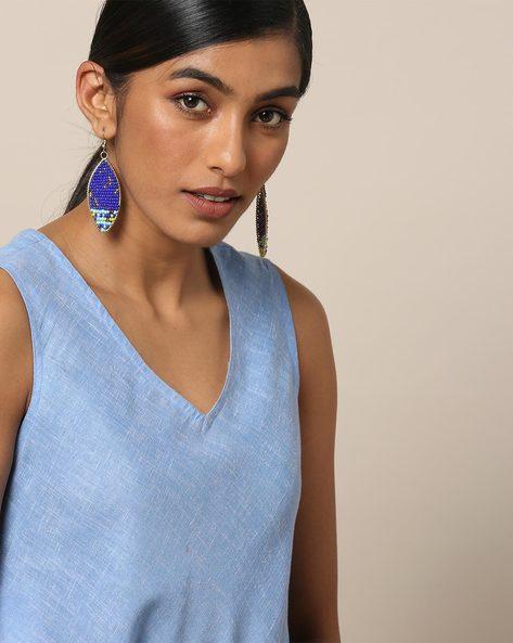 Beaded Dangler Earrings By Indie Picks ( Blue ) - 460167638001