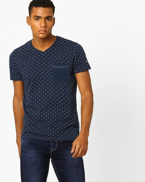 Printed T-shirt With Patch Pocket By Killer ( Blue )
