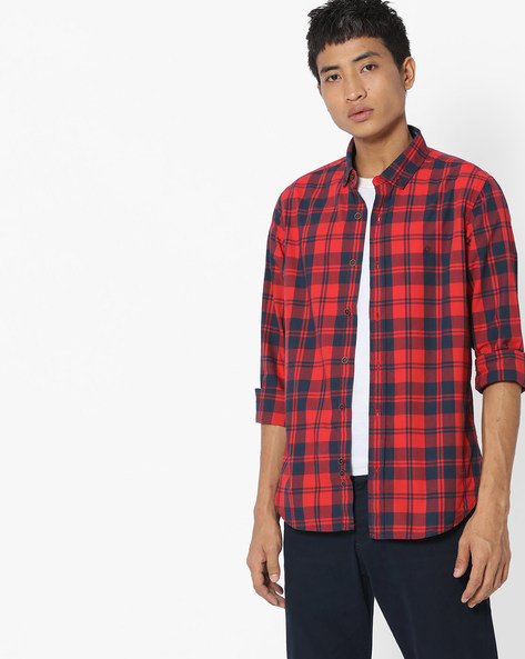 Checked Shirt With Button-Down Collar By UNITED COLORS OF BENETTON ( Blue )