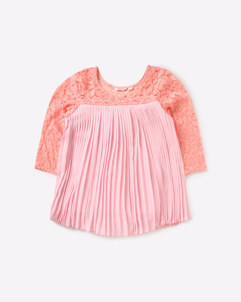 Top With Lace & Gathers By POINT COVE ( Pink )