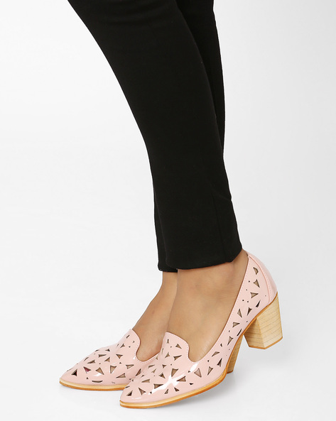 Block Heels With Laser-cut Detail By MFT Couture ( Pink )