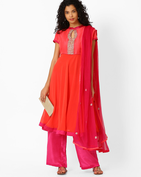 Anarkali Kurta Dupatta With Palazzo Pants By AJIO ( Orange )