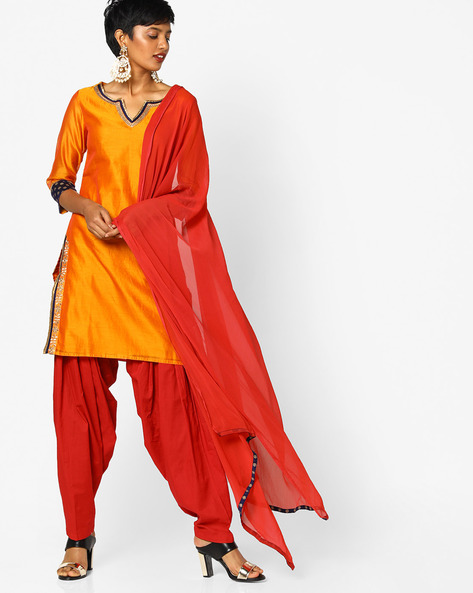 Kurta Suit Set With Dupatta By AJIO ( Rust )