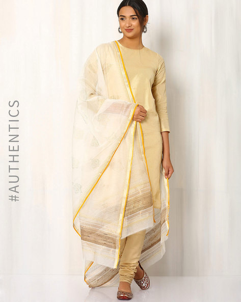 Hand Block Print Maheshwari Dupatta By Indie Picks ( Offwhite ) - 460017099001