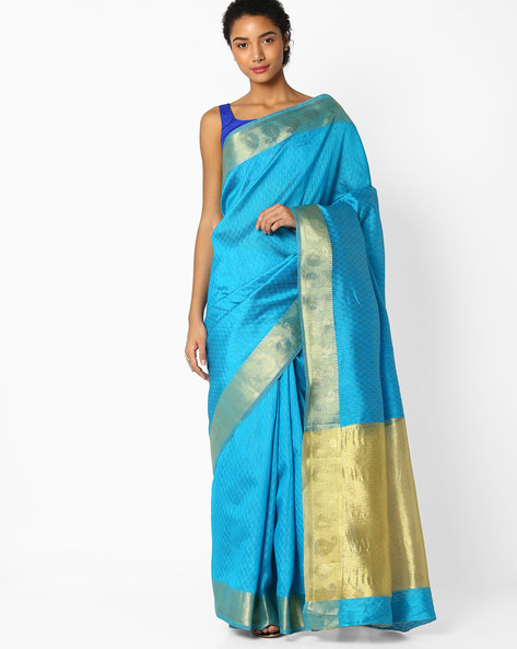 Saree With Paisley Zari Border By Amori ( Blue )