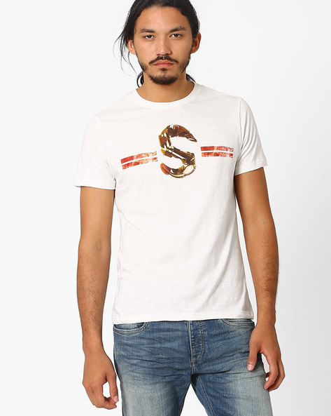 Slub Industrial Graphic Print T-shirt By AJIO ( Offwhite )