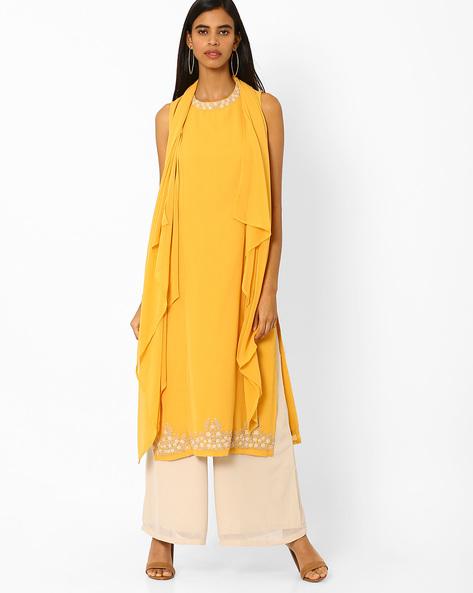 Kurta With Attached Asymmetric Dupatta By AJIO ( Yellow )