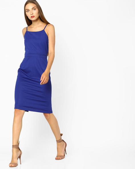 Bodycon Dress With Strappy Sleeves By AJIO ( Blue )