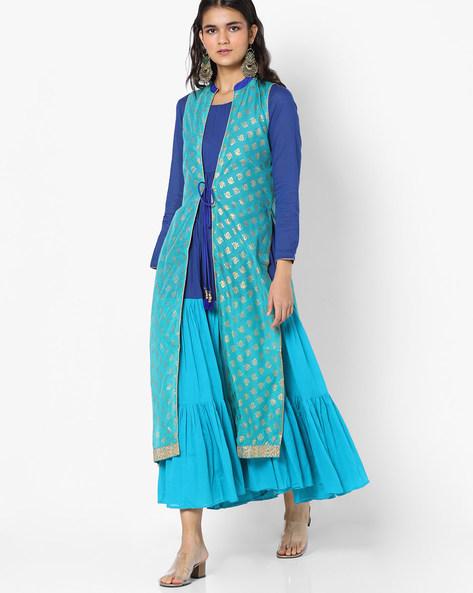 Colourblock Dress With Sleeveless Jacket By Trishaa By Pantaloons ( Blue )