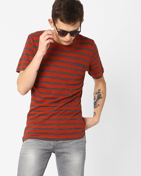 Striped T-shirt With Patch Pocket By Jack & Jones ( Maroon )