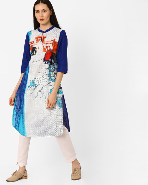 Cotton Printed Straight Kurta By AURELIA ( Blue )