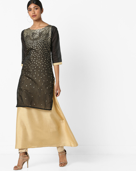 Foil Print Straight Kurta By ZIYAA ( Black )
