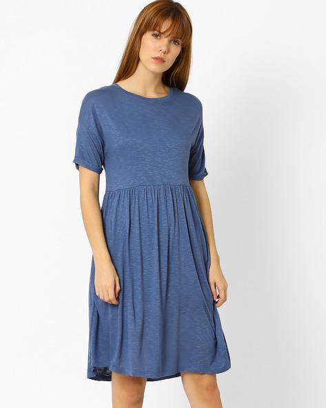 Slub Knit Fit & Flare Dress By AJIO ( Blue )