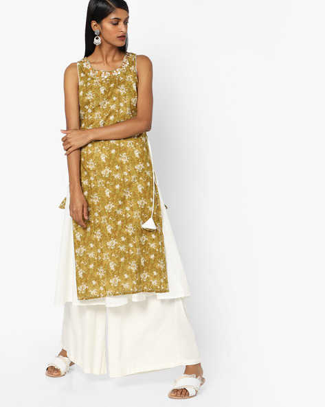 Floral Print Layered Kurta With Embroidery By AJIO ( Olive )