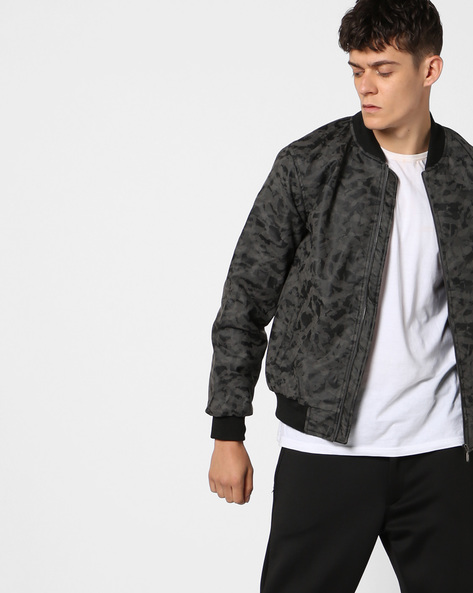 Camouflage Print Jacket With Zipper Accent By AJIO ( Grey )