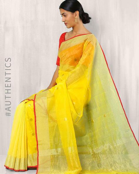 Bengal Handloom Jamdani Saree By Indie Picks ( Yellow )