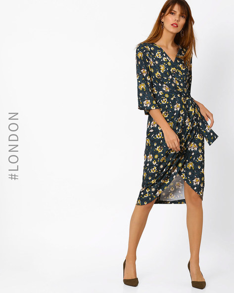 Floral Print Dress With Overlay Front By Closet London ( Multi )