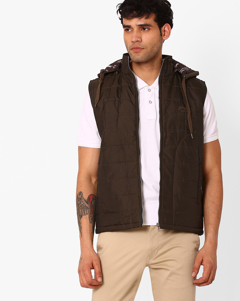 Quilted Regular Fit Jacket With Hood By Fort Collins ( Coffeebrown )