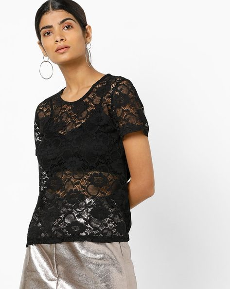 Sheer-Front Floral Lace Top By Only ( Black )