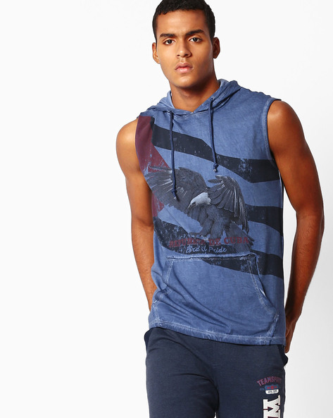 Graphic Print Sleeveless T-shirt With Hood By DNM X ( Blue )