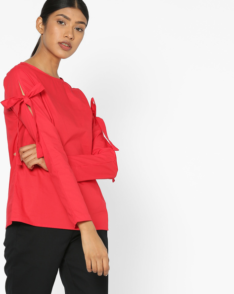 Panelled Crew-Neck Top With Tie-Up Sleeves By Vero Moda ( Tomatored )
