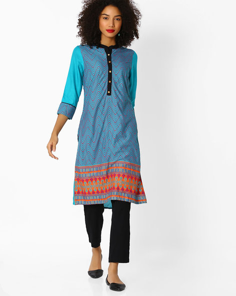 Chevron Print Straight Kurta By Aaboli ( Green )