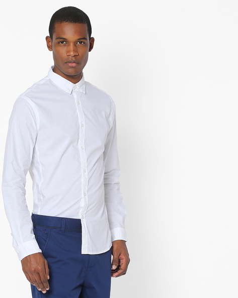 Slim Fit Shirt With Spread Collar By AJIO ( White )