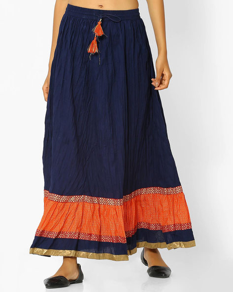 Colourblock Skirt With Tassel Tie-Up By AVAASA MIX N' MATCH ( Navy )