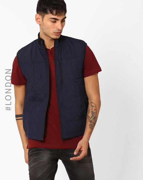 High-Neck Quilted Gilet By Marks & Spencer ( Navy )