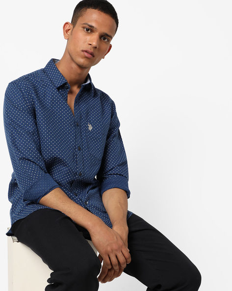 Polka-Dot Print Shirt With Patch Pocket By US POLO ( Assorted )